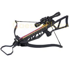 180-lb-Black-Hunting-Crossbow-Archery-Bow-4x20-Scope-12-Arrows-Bolts-150