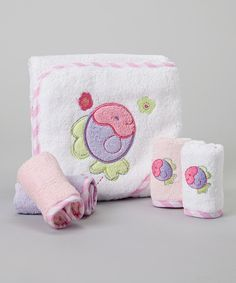 Look at this SpaSilk Purple Fish Hooded Towel Set on #zulily today!