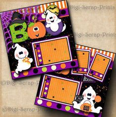HALLOWEEN GHOST BOO 2 premade scrapbook pages layout paper piecing ~BY DIGISCRAP #CoupleScrapbook