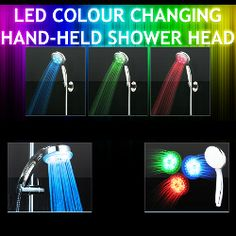Image for for 2 LED Colour Changing Hand-Held Shower Heads (worth Nationwide delivery included.