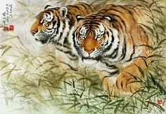 (North Korea) Tigers by Kim Gi-cheol (1948-  )