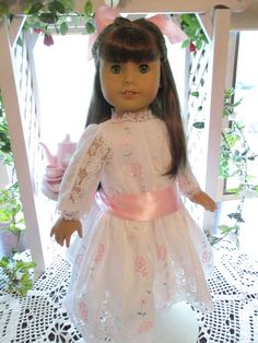 American Girl Clothes, Girl Doll Clothes, Girl Dolls, American Girls, Ag Dolls, Victorian Dolls, Sheer Fabrics, Pink Satin, Flower Girl Dresses