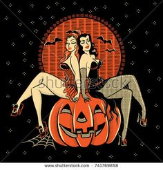 Vintagestyle line artwork of spooky Halloween glamour twins sitting on a carved pumpkin head.