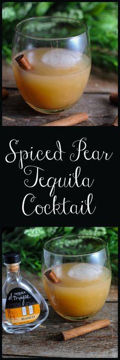 Spiced Pear Tequila Cocktail, El Mayor Tequila, cinnamon, honey, vanilla, pear nectar #cocktail #tequila #honey #vanilla