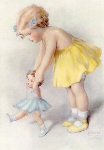 "Print by Bessie Pease Gutmann entitled ""Everything in Life is Easier if You Have Help from A Good Friend"""