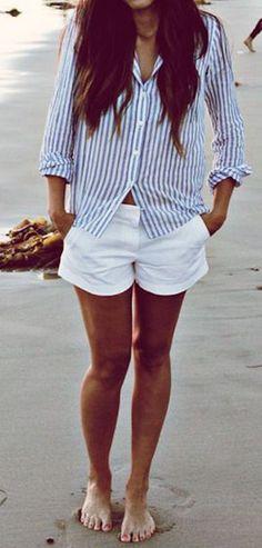 Striped Button-Down & White Shorts