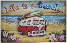 """""""Life is a Beach"""" with this 16"""" x 10"""" printed wood sign featuring surfboards on top a red VW style bus in front of the waves... Surf's Up! This sign also adds a tropical Hawaiian feel to any room it's hung in, and makes a great gift for any beach lover."""