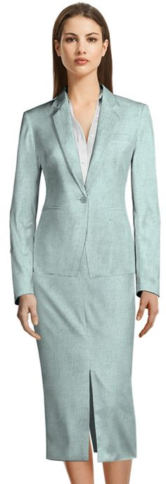 Discover made-to-measure fashion for women. Personalise your female suits, shirts, jackets and skirts at the best price. Light Blue Skirts, Spring New, Tailored Suits, Suit And Tie, Skirt Suit, Summer Wardrobe, Design Your Own, Suits For Women, Custom Made
