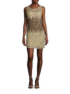 Adrianna Papell Sleeveless Sequined Sheath Dress - Champagne - Size 1