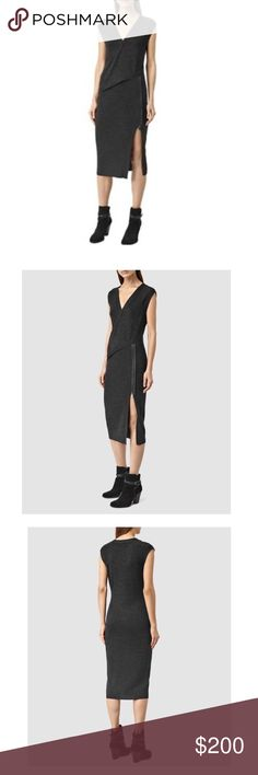 """All Saints Kalo Dress in Cinder Black Marl NWT Sold out on-line. Brand new All Saints sleeveless Kalo 100% Merino wool dress with asymmetrical layered design + front / side slit zipper detail. Color indicates """"Cinder Black Marl"""" (black gray). Size L (8-10). Perfect for Fall and can be layered with your favorite wool or leather blazer and moto boots or heels. Purchased at All Saints in London . Realized that I needed a S or M, and now sold out online. **NO Trades.  Credit: All Saints. Last…"""