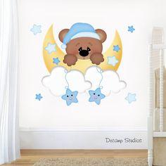 Teddy bear nursery decal baby boy wall art moon cloud star s Kids Room Murals, Nursery Wall Murals, Murals For Kids, Kids Room Paint, Nursery Decals, Nursery Room, Baby Room Themes, Baby Boy Rooms, Baby Room Decor