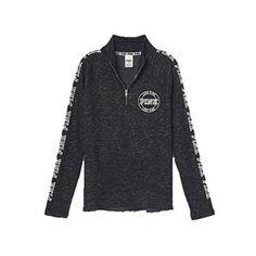 Victoria's Secret LOVE PINK Colorblock Half Zip Black White Pullover ❤ liked on Polyvore featuring tops, sweaters, pink half zip pullover, half zip sweater, color-block sweater, 1/2 zip pullover and victoria secret sweaters
