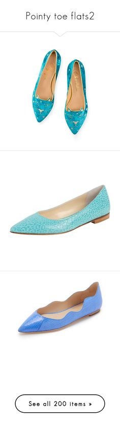 """""""Pointy toe flats2"""" by ellie366 ❤ liked on Polyvore featuring shoes, flats, glitter flat shoes, charlotte olympia, velvet flats, velvet flat shoes, embroidered shoes, aqua, flats - ballet and aqua ballet flats"""