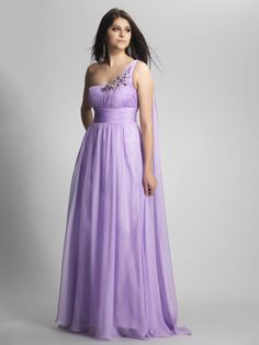 A-line One Shoulder Chiffon Floor-length Lilac Beading Prom Dresses at Millybridal.com