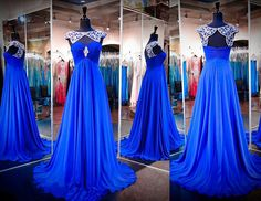 Custom Beading Prom Dresses Chiffon Open Back Party Evening Pageant Gown New2016 #Unbranded #Formal