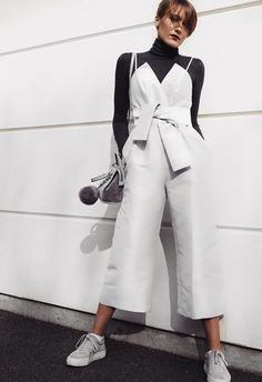If you thought jumpsuits were strictly PM apparel, think again. Dress down your BNO best (that bow, though...) by swapping your neck candy for a ribbed knit and amping up your laid-back vibes with the help of boxfresh sneaks