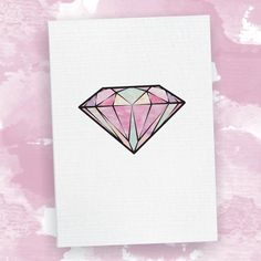 Diamond Card - Watercolour Illustration Birthday Card, Engagement Card, Wedding Card, Greeting Card, For Her