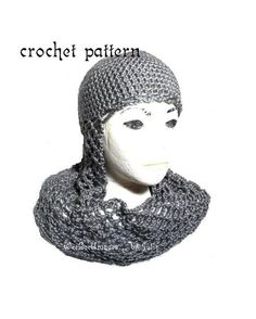 Chainmail coif knight helmet hat is perfect for adventure play, halloween, great as a photography prop and a fun gift for the fantasy lover! Crochet Adult Hat, Knit Crochet, Crochet Hats, Knights Helmet, Viking Helmet, Knight Outfit, Crochet Costumes, Medieval Fantasy, Medieval Knight