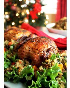 Tyson® Creole Cornish Hens with Rice Dressing - Creole Contessa New Recipes, Holiday Recipes, Cooking Recipes, Yummy Recipes, Atkins Recipes, Bacon Recipes, Burger Recipes, Easter Recipes, Family Recipes