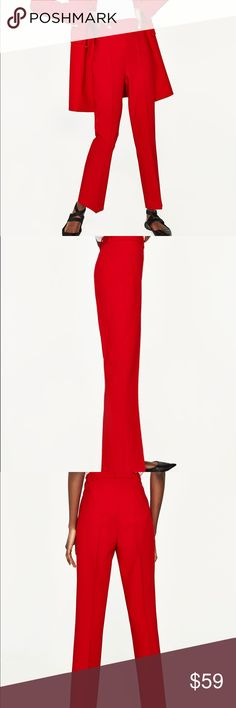 Zara trousers with flared hem Great stretch with 7% elastane, cropped with slightly flared hem... red pants suit hot trend Zara Pants