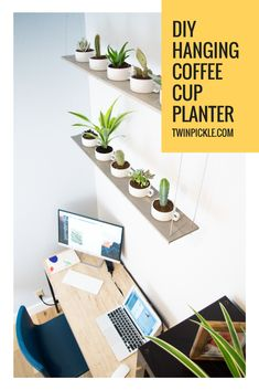 DIY Hanging coffee cup planter. Floating succulent planter. Indoor planting plant pots. Modern planter. #diy #doityourself #planter #succulent #coffeecup #hanging #floatingshelves