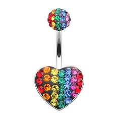 Motley Rainbow Heart Navel Bar Multi Colour Surgical Steel Navel Piercing Jewellery Find it at www.thebellyringshop.com.au