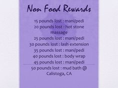 "this is a way to ""win"" treats during my weight loss journey. the idea is to do something nice for myself that isn't food related! weight loss motivation"