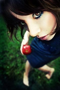 "Great colors and definitely an ""eye-catching"" angle. Self-portraits should tell a story, and I think I see something started with that apple. Link goes to ""35+ Example of Eye Catching Self Portrait Photography."""