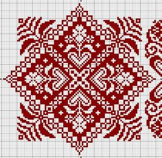 Gallery.ru / Фото #51 - еще монохром + жаккард - irisha-ira biscornu square red cross stitch chart free