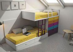 Habitación infantil con compacto de 2 cajones de 90 x 190, módulo block de 4 cajones y 1 contenedor de 100 x 107 x 99.7, tarima + laterales respaldo + barandilla quitamiedos y escalera.