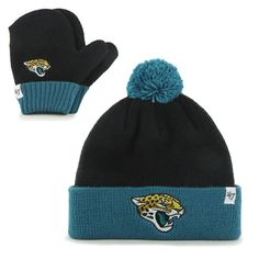 Infant Jacksonville Jaguars  47 Black Cuffed Knit Hat and Mittens Set 807fd675e
