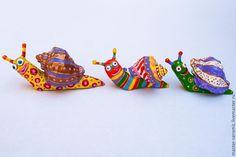 """Купить """"Веселые улитки"""" керамика - улитка, керамика ручной работы, керамическая фигурка, статуэтка"""