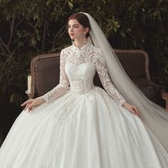 Muslim Wedding Dresses, Wedding Dresses For Girls, Bridal Wedding Dresses, Wedding Dress Accessories, Chapel Train, Cathedral Train, Beautiful Dresses, Marie, Ball Gowns