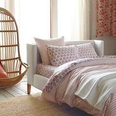 Percy Stripe Duvet Cover  – Coral   Serena & Lily