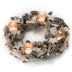 Adventskranz Weihnachtskranz - mit 4 Teelichtgläsern - komplett dekoriert mit Tannenzapfen, Ästen, Holzsternen - 38 cm Ø