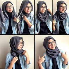 Hijab style for specs wearers with no pins