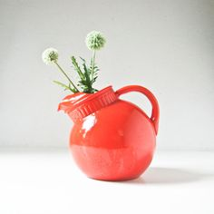Vintage Red Glass Pitcher by BeeJayKay on Etsy, $42.00