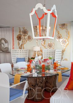Love the lantern.  Elle Décor Showhouse Miami | urban Electric Venetian lantern