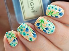 Summer Watercolor Nail Art inspired by Wondrously Polished