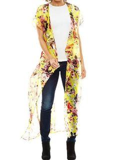 NWT OS Yellow Summer Kimono Sheer Chiffon Shawl Poncho Floral Blossom Maxi Long #Studio36 #Kimono #everyday