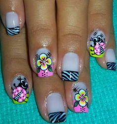 Cute Pedicure Designs, Flower Nail Designs, Nail Art Designs, Mani Pedi, Nail Manicure, Swag Nails, Fun Nails, Cute Pedicures, Nail Patterns