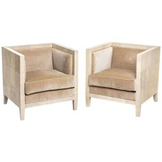Pair of Shagreen Armchairs in the Style of Jean-Michel Frank 1