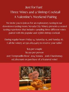 Nevada City Winery Valentine's Day weekend pairing, 3 wines and shrimp cocktail.