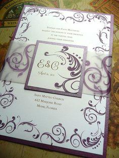 Purple Wedding Invitation with Flourish The by PinkOrchidInvites, $4.25