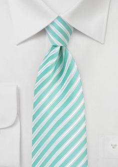 Pool Blue Tie with White Stripes