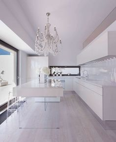 17 georgous white modern kitchen inspirations to inspire your next kitchen design. Interior design at its best and home decor to love. Modern Kitchen Island, Kitchen Inspirations, Home Interior Design, House Design, Luxury Kitchens, House Interior, Interior, Home Decor, Contemporary Kitchen