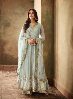 e4a3314019 Sonal chauhan sky blue designer anarkali suit online which is crafted from  georgette fabric with exclusive embroidery and stone work.