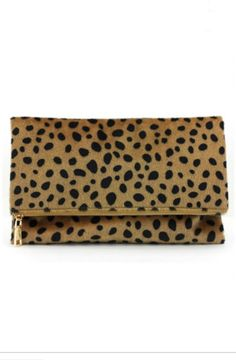 PRE-ORDER Amy Fold-Over Leopard Clutch (December shipment) – Gray Monroe