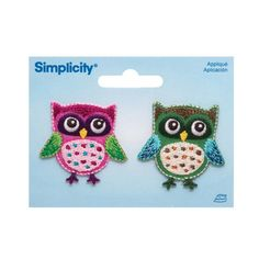 Simplicity Iron On Appliques 2/Pkg Owls from @fabricdotcom  Use Simplicity Appliques to add whimsy and charm to apparel, accessories, and other craft and home décor projects. Appliqués can be stitched or ironed on. Package includes 2 appliques. Appliques measure 1.5 inches tall. $4.98