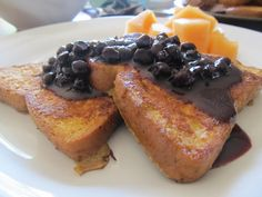 {paleo} Coconut Oil & French Toast with Wild Blueberry Sauce Primal Recipes, Paleo Recipes, Real Food Recipes, Cooking Recipes, Yummy Food, Healthy Cooking, Paleo Meals, Paleo Food, Free Recipes